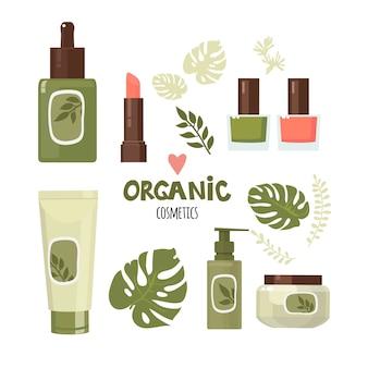 Набор органической косметики. крем, помада, лак для ногтей и др. плоский дизайн.