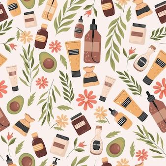 유기농 화장품 벡터 평면 원활한 패턴