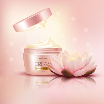 Organic cream with lotus flower