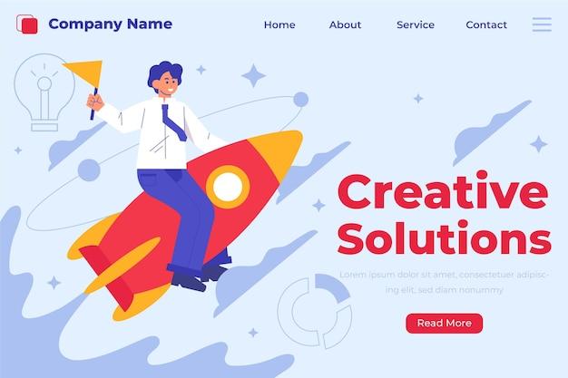 Modello di pagina di destinazione delle soluzioni creative organiche