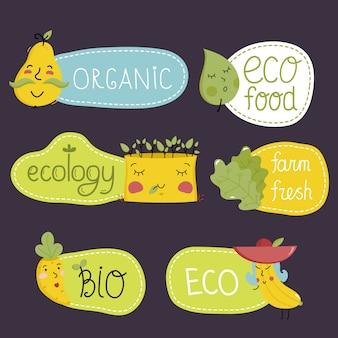 Organic, eco and bio food labels set.