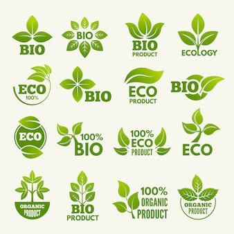 Organic eco logos and labels