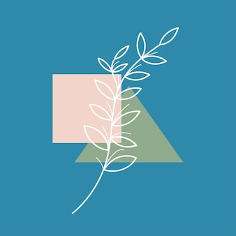 Органический элемент, нарисованный одной непрерывной линией, минималистичный простой органический природный элемент, изолированные на белом фоне. логотип экологии, дизайн концепции природы