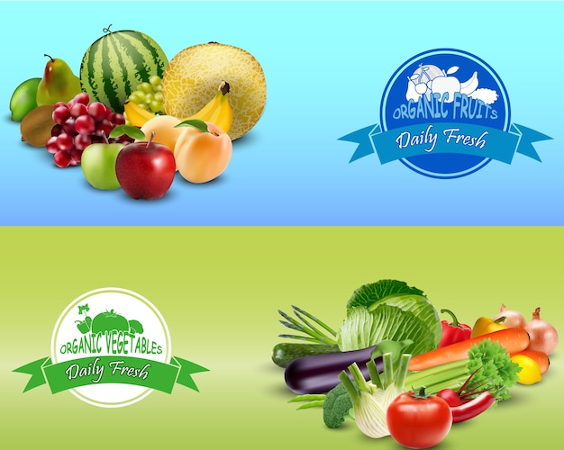 Organic farm fruits and vegetables design template