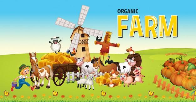 Логотип органической фермы с животноводческой фермой на фоне фермы