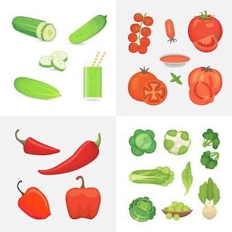 有機農場ビーガンフードのイラスト。健康的なライフスタイルのデザイン要素。野菜は漫画風のアイコンを設定します。