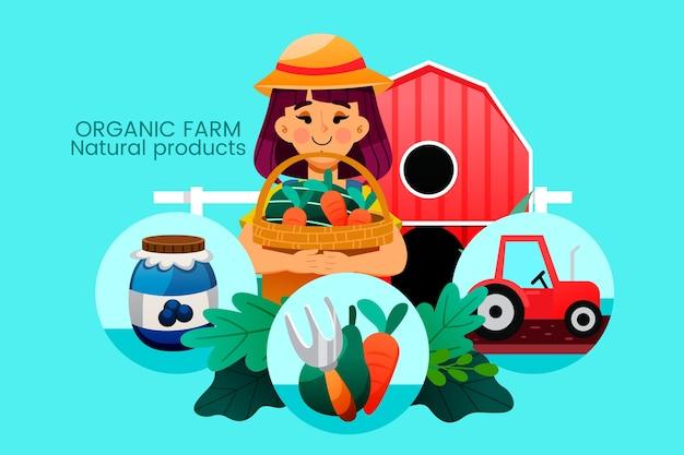 Organic farming concept elements