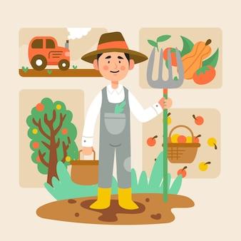 イラストの有機農業の概念