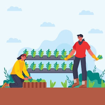 Organic farming concept illustration of man and woman