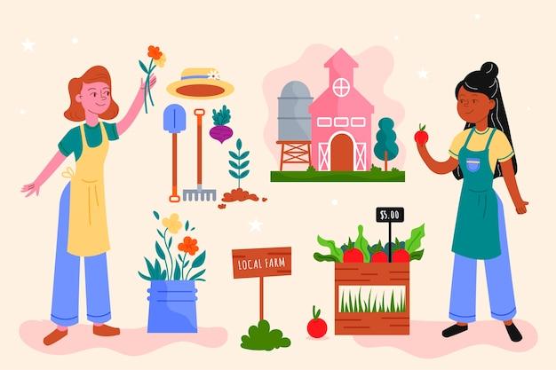 Organic farming concept for illustration