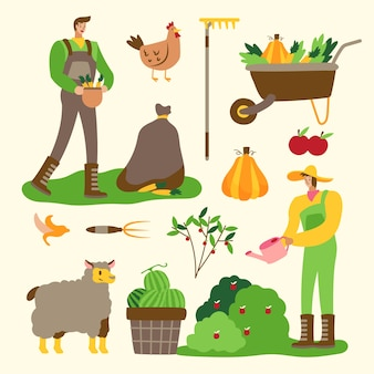 Organic farming concept people working