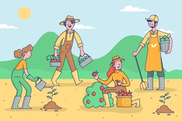 Organic farming concept style