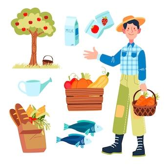 Organic farming concept with farmer holding basket