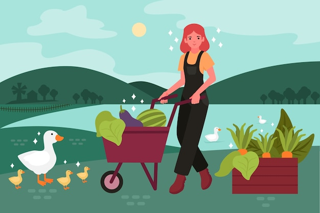 Organic farming concept with girl and goose