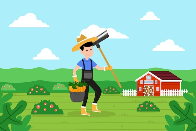 Organic farming concept with illustrated farmer