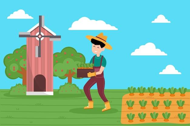 Concetto di agricoltura biologica con illustrazione