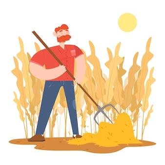 Organic farming concept with man holding garden fork