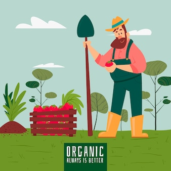 Organic farming concept with man holding vegetable