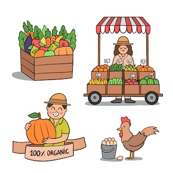 Organic farming concept with market