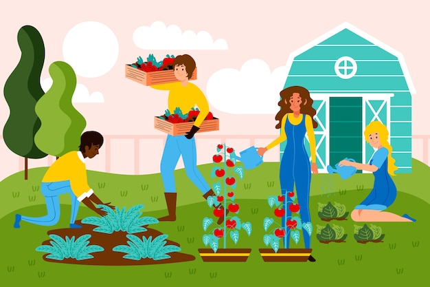 Organic farming concept with people and vegetable crops