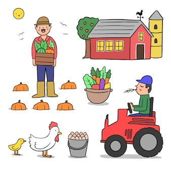 Organic farming concept with tractor