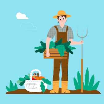 Organic farming concept with vegetables