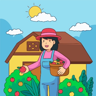 Organic farming concept with woman choosing the best apples