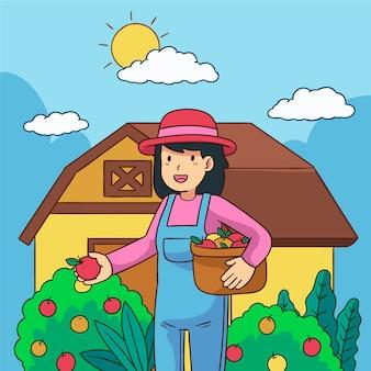 Концепция органического земледелия с женщиной, выбирая лучшие яблоки
