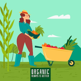 Organic farming concept with woman gathering vegetables