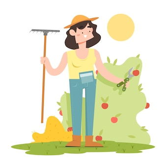Organic farming concept with woman holding rake