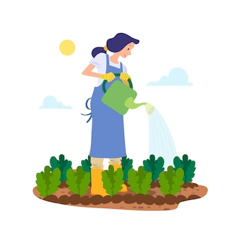 Organic farming concept with woman watering the plants