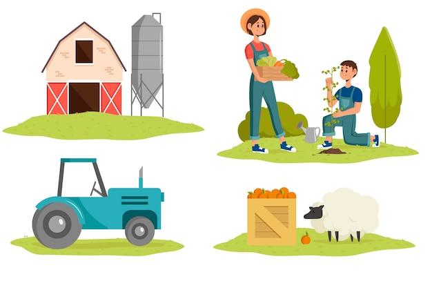 イラストの有機農業デザイン