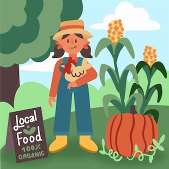 Organic farming illustration with girl farmer