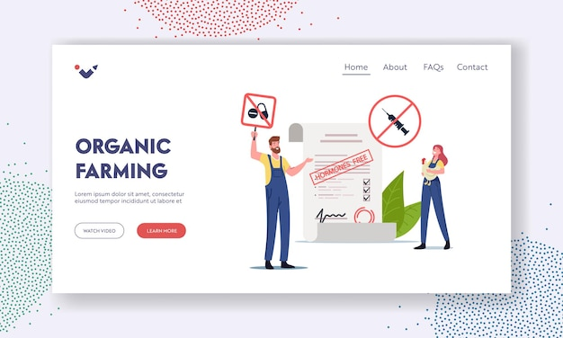 Organic farming landing page template. farmer characters riot for natural farmer market goods, eco food free from antibiotics, hormones and gmo, people choose healthy food. cartoon vector illustration