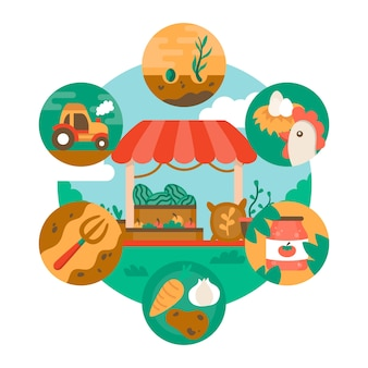 Organic farming theme for illustration