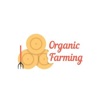 건초 더미와 함께 유기 농업입니다. 마을, 재배, 가정, 농가, 목장, 정원, 짚의 개념. 흰색 배경에 고립. 플랫 스타일 트렌드 현대 로고 디자인 벡터 일러스트 레이션