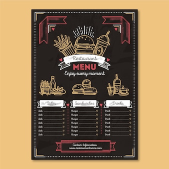 Organic fast food restaurant menu
