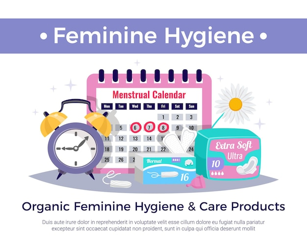Organic feminine hygiene and care products flat advertising composition with menstrual calendar tampons ultra pads