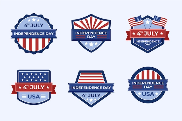 Organic flat 4th of july independence day badge collection