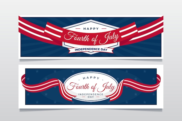 Organic flat 4th of july independence day banners set