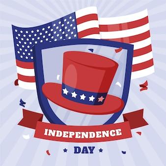 Piatto organico 4 ° dell'illustrazione di festa dell'indipendenza di luglio