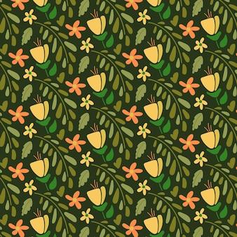 유기 편평한 추상 꽃 패턴
