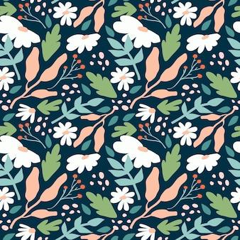 Органический плоский абстрактный цветочный узор Бесплатные векторы