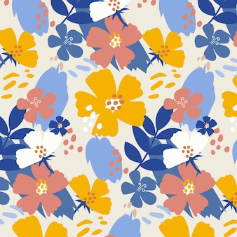 Organic flat abstract floral pattern Free Vector