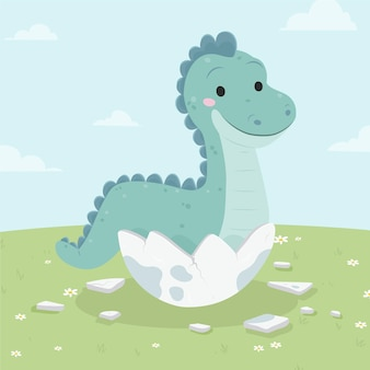 Органический плоский очаровательный маленький динозавр проиллюстрирован