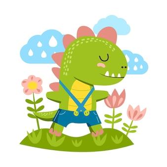 Organic flat adorable baby dinosaur illustrated