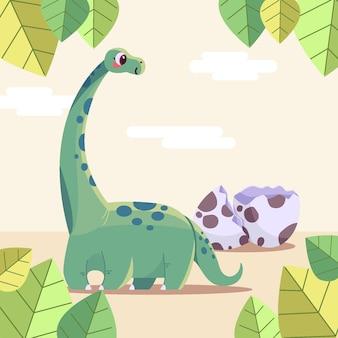 描かれた有機フラット愛らしい赤ちゃん恐竜