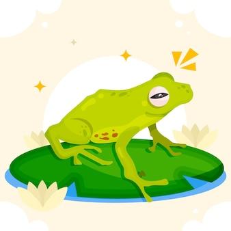 Органическая плоская очаровательная иллюстрация лягушки