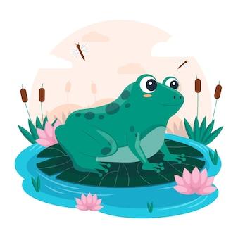 有機フラット愛らしいカエルのイラスト