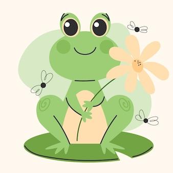 Органическая плоская очаровательная иллюстрация лягушки Бесплатные векторы